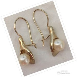 VINTAGE EARRINGS AVON LILY PEARL GOLD TONE STAMPED